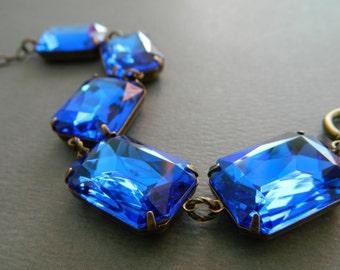 Sapphire Jewel Bracelet, Blue Bracelet, Blue Vintage Jewelry, Chunky Sapphire Bracelet, Vintage Blue Rhinestone Bracelet, Art Deco Jewelry
