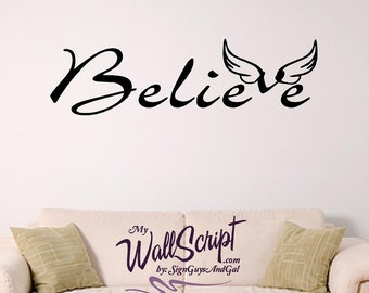 Believe wall graphic, angel wings wall decal