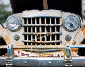 Old jeep willy photo, Gifts for him, jeep grill photo, matted 8x10, matted 11x14, matted photograph