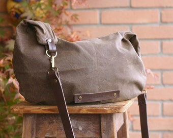Waxed cotton bag - WAXED CANVAS BAG - hobo bag - handmade bag - canvas bag - Valentine's day gift - fabric bag - wax canvas
