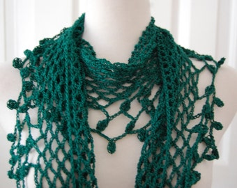 Crochet Lace Scarf in Cotton with ornate texture trim on mesh scarf