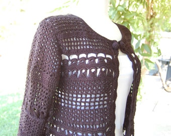 Crochet cardigan with 3/4 sleeve  in black with broomstick lace in size medium
