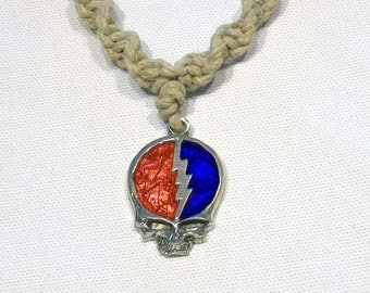 Grateful Dead Steal Your Face Hemp Necklace, Classic Red and Blue Design With Lightening Bolt