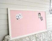 HUGE Pink Linen Fabric Magnetic Bulletin Board FURNITURE GRADE Magnet Board Girls Room Office 26 x 52 Oversized Handmade Framed Cottage