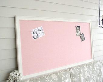 huge pink linen fabric magnetic bulletin board furniture grade magnet board girls room office 26 x