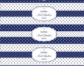 Boy Polkadot Baptism in Royal Blue and White- Personalized Water Bottle Wrappers- print your own