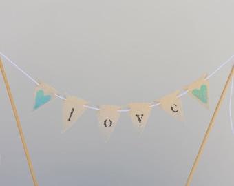 LOVE Mini Pennant Cupcake/ Wedding Cake Banner Topper / Bunting/ Cake Topper/ Bridal Shower/ Decor/ Aqua glitter heart - Ready to ship