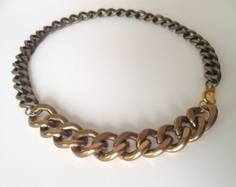 Two Tone Brass Chain Necklace - Handmade