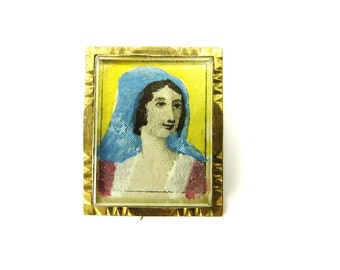 Antique Jewelry Victorian Brooch Brass Miniature Portrait Hand Painted Pin Pointalism 1890s