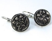 Silver and Black Flower Czech Glass Button Earrings