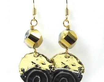 Gold Crystal Swirl Art Metal Earrings
