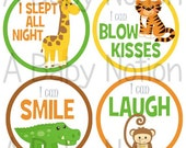 Jungle animals baby's first milestone stickers or iron on decals baby shower nursery