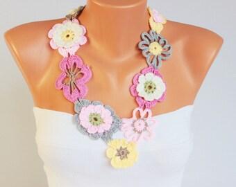crochet jewelry ,crochet  bip necklace,crochet necklace, fiber  necklace