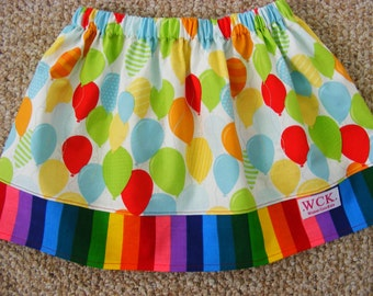 Balloons and Rainbows   Skirt ( 18 mos, 24 mos, 2T, 3T, 4T, 5, 6, 7)