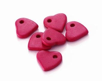 Large Pink  Heart Ceramic Pendant 3pcs C 10 052