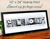 Custom LAST NAME Alphabet Photography Photo Letters 10x24 Print (unframed) Special Size for Longer Names