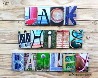 PERSONALIZED NAME SIGN  in  Alphabet Photography  - Word Plate sign,  Framed, kids room decor