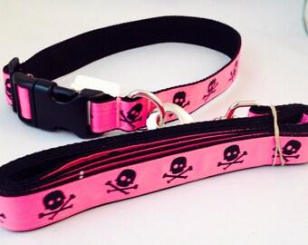 Fuchsia Skull Crossbones Dog Collar Leash Set
