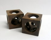 Cube-in-a-Cube, Hand crafted Black Walnut Desk Ornament
