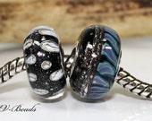 AV-Beads 2 handmade Lampwork  European Charms (sterling silver rivets 4,5mm hole) SRA