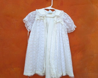 VINTAGE 1940s 1950s Baby Baptism Christening Ivory White Lace Dress Gown with Matching Coat Jacket