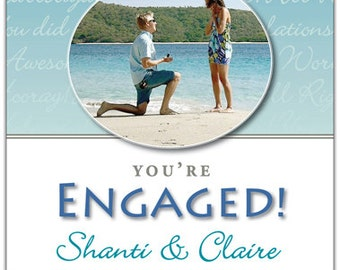 Engagement Wine Label 1 set, Front AND Back labels, with Photo