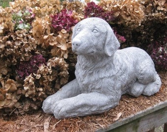 Large Concrete Golden Retriever Dog Statue Memorial