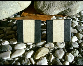 WOODEN Cufflinks From EBONY and MAPLE Wood Handcrafted Wooden Cufflinks