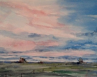 """Landscape, pink. sky, trees, clouds, green, fence, path. Big Sky- original watercolor painting (7"""" x 10"""")."""