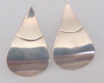Vintage Silver Tone Teardrop Earrings
