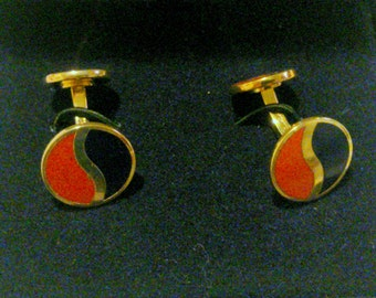 New Old Stock Blue and Red Enamel Cuff Links