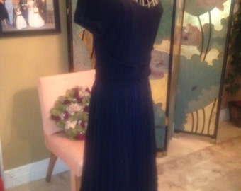 Elegant little black chiffon dress