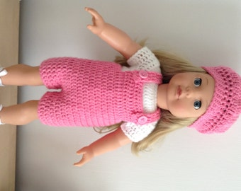 PDF Crochet pattern for dungarees set for 18 inch doll, American Girl Doll or Gotz doll