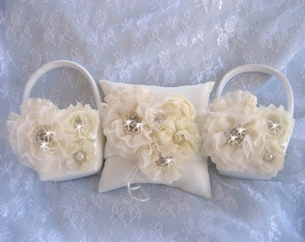 Two Flower Girl Baskets and Ring Bearer Pillow, Flower Girl Basket Set Wedding Pillow Elegant and Classic