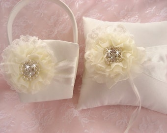 White Flower Girl Basket and Pillow  .. White or Ivory Lace Wedding Ring Pillow ..Beach Wedding Ivory and Cream Custom Colors too