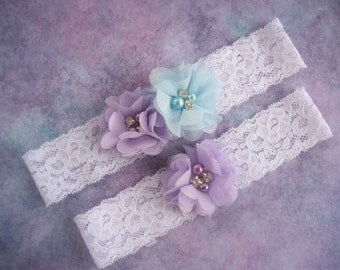 Orchid and Light Mint Wedding Garter , Garter Set with Toss Garter in Lavender Lace, Beach Wedding  Bridal Garter with Chiffon Blossoms