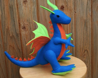 Earth Dragon Fantasy Plush ~ Handcrafted Eco Friendly Stuffed Animal Toy, Boys Gift, Blue, Green, Earthy Gift, Plushie, Natural Kids Gift