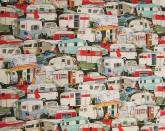 Retro Trailers Vintage Trailer Packed Cotton Fabric Fat Quarter or Custom Listing