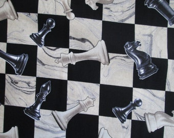 Chess Board Pieces Chess Set Cotton Fabric Fat Quarter or Custom Listing