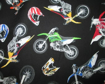Motocross Motorcycle Racing Bikes Dirt Bike Black Cotton Fabric Fat Quarter Or Custom Listing