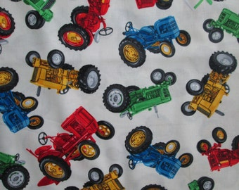 Tractors Farm Machines Colorful White Cotton Fabric Fat Quarter or Custom Listing