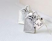 Silver Cute Tea Bags Earrings. English Tea Quirky Earrings. Tea Dangle Earrings