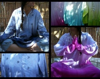 Tie Dye Shirt Cotton Tunic OM Embroider Ombre Yoga Beach Summer Chakra Fashion Meditate Sleep Choice L XXL Violet Black Blue Red Green Pink