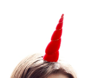 Unicorn Horn Red Headband in Original Size Costume Prop Valentines Day Love