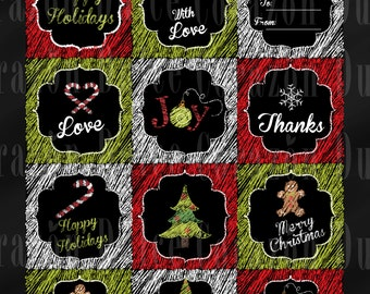 Printable Chalkboard Christmas tags- Instant download-
