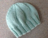 Newborn Mint Green Baby Beanie, Photo Prop, Infant Hat