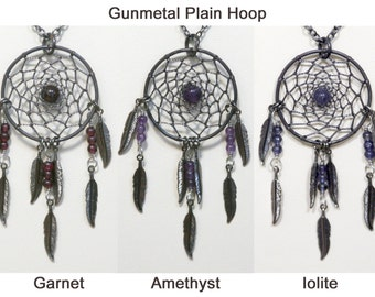 Dream Catcher Amethyst, Garnet, Iolite & Gunmetal Dreamcatcher Necklace with Feathers