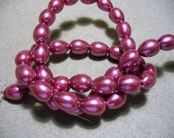 Glass Pearls Rose Teardrop 9x7MM