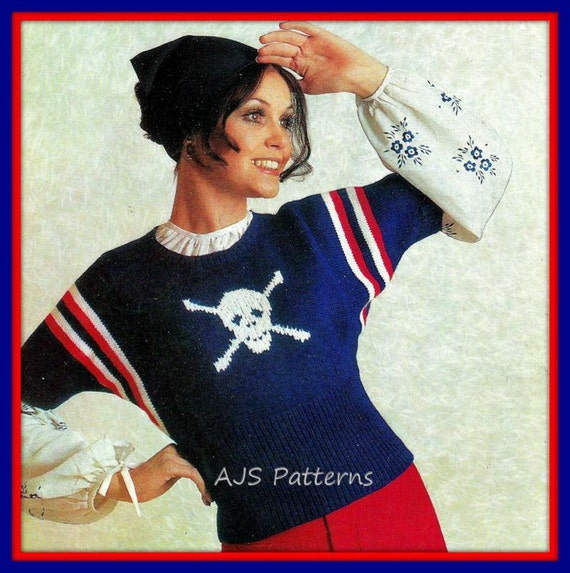 Knitting Pattern Pirate Jumper : PDF Knitting Pattern for a SimpleTo Knit Ladies Retro Pirate