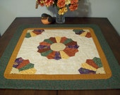 """Fall Dresden Plate Thanksgiving Autumn Table Topper OR Wall Hanging 27"""" X 27"""" Rust Green Purple Gold"""